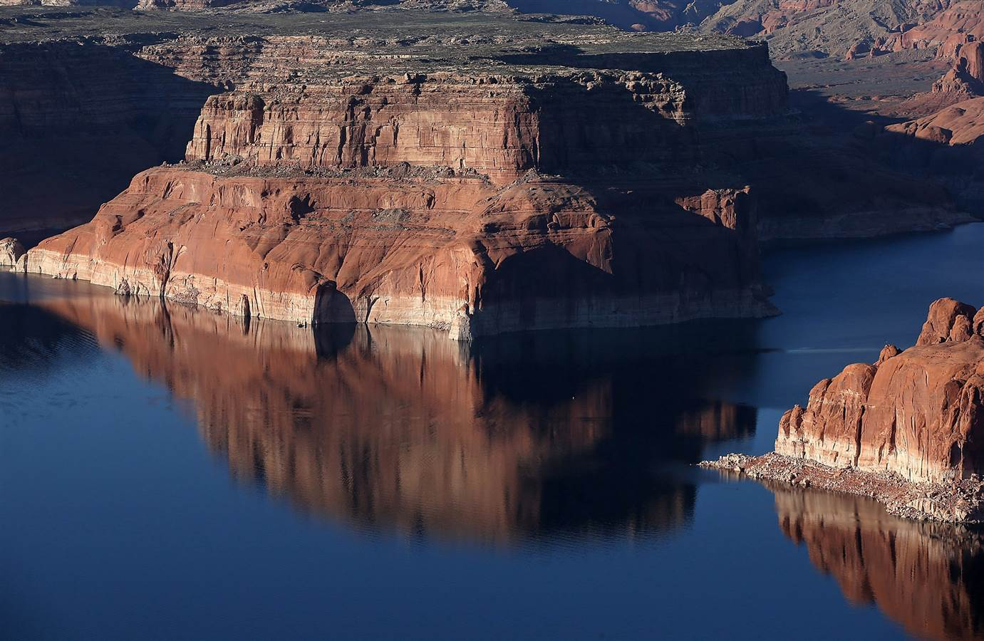 Lake Powell, currently the largest  reservoir in the United States is far below its normal water level.