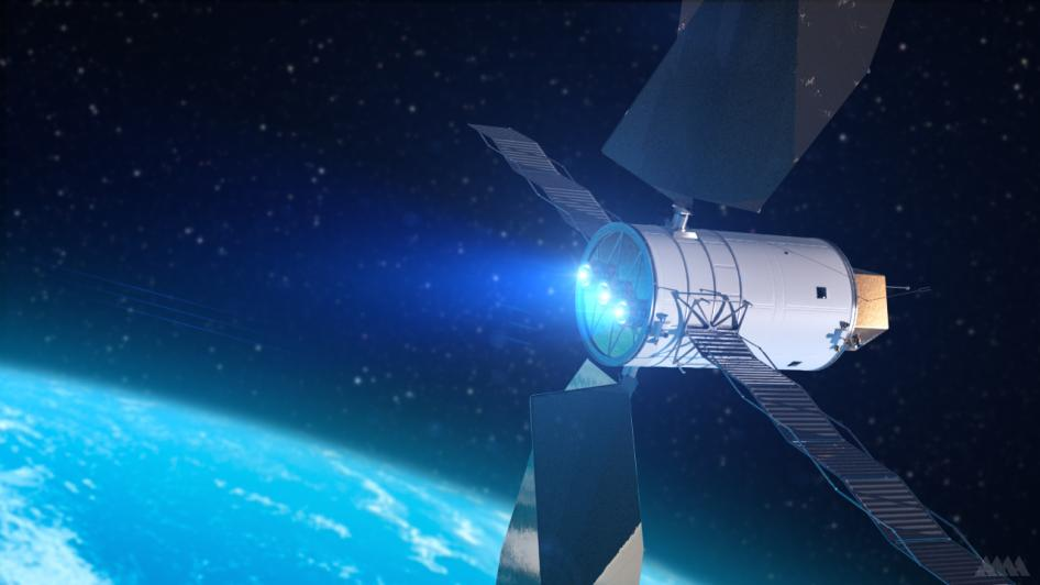 Artist's conception of a spacecraft with solar electric propulsion