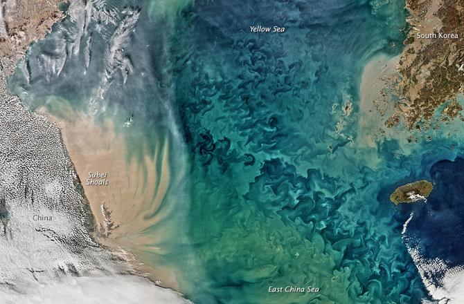 China's turbid Yellow Sea as seen by NASA's Aqua satellite