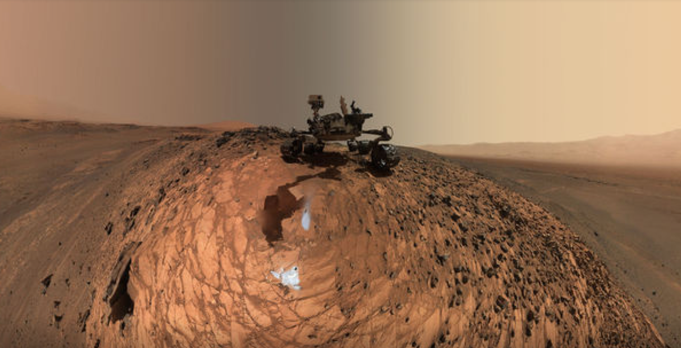 NASA's Curiosity Rover takes a selfie at the Buckskin rock on Mars.