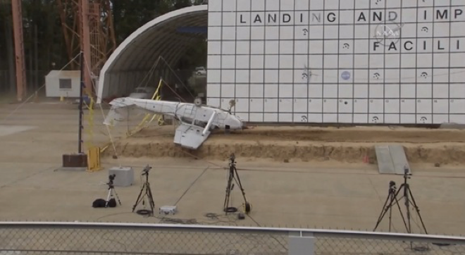 The third of three airplanes NASA crashed to test locator sensor technology.