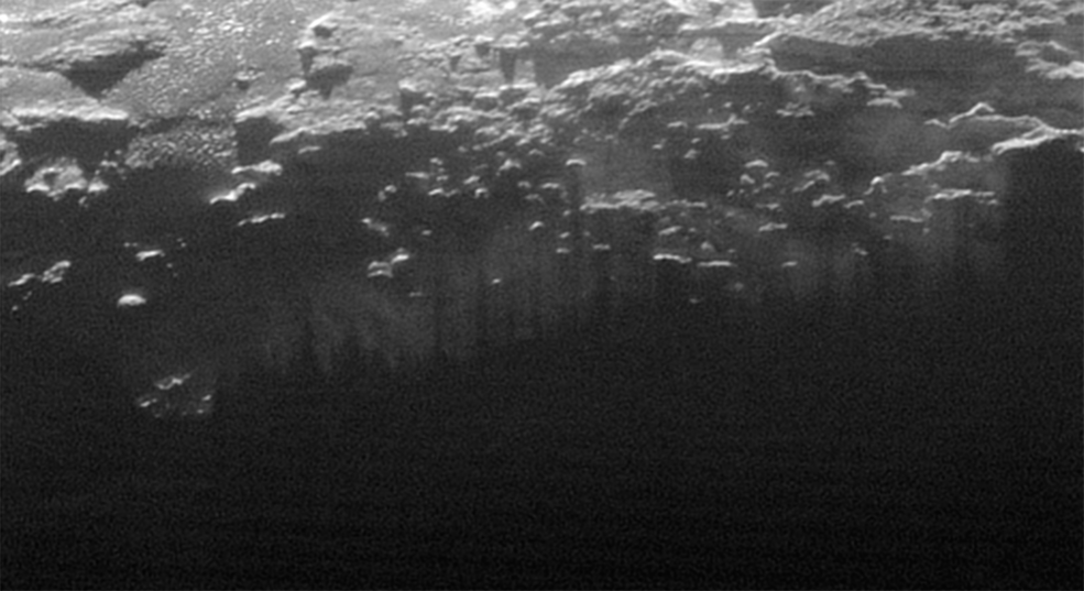 Here, we see Pluto's mysterious near-surface haze.