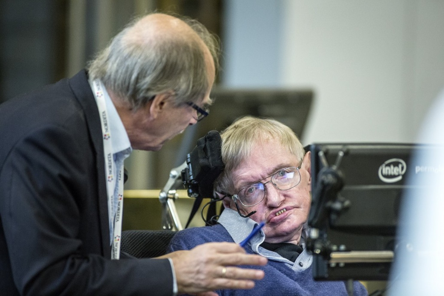 Stephen Hawking gives a lecture on black holes at KTH in Stockholm, Sweden.