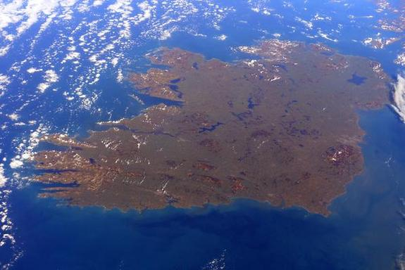 An image taken of Ireland from the ISS on St. Patrick's Day