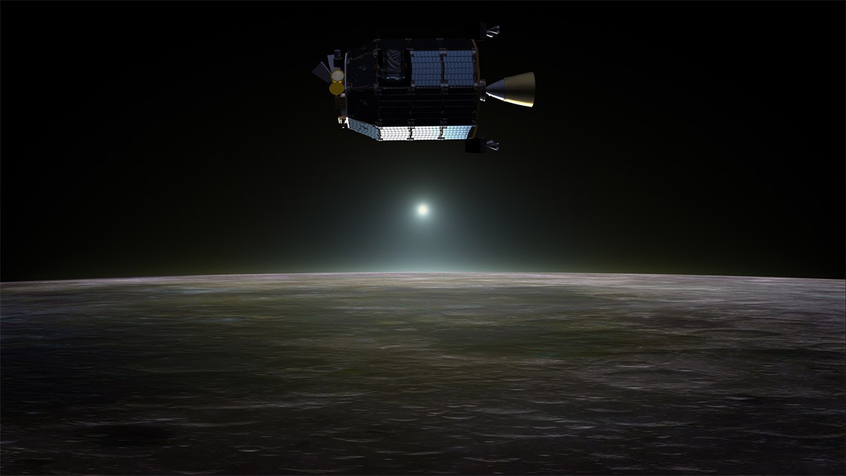This is an artist's rendition of the LADEE spacecraft just over the Moon.